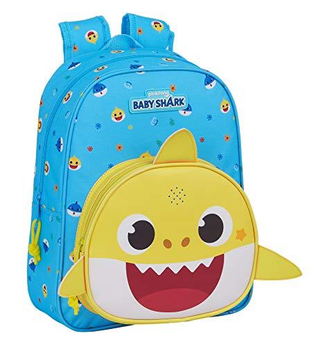 Safta Mochila Infantil con Música Baby Shark, 270x100x330mm, Azul Claro