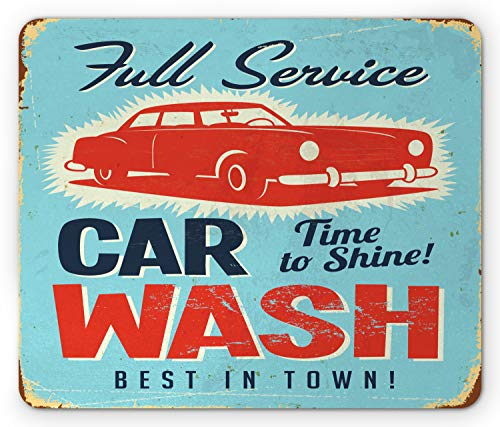 Lunarable Americana Mouse Pad, Best in Town Car Wash Banner Like Typography, Standard Size Rectangle Non-Slip Rubber Mousepad, Dark Night Blue Vermillion Cream and Pale Blue
