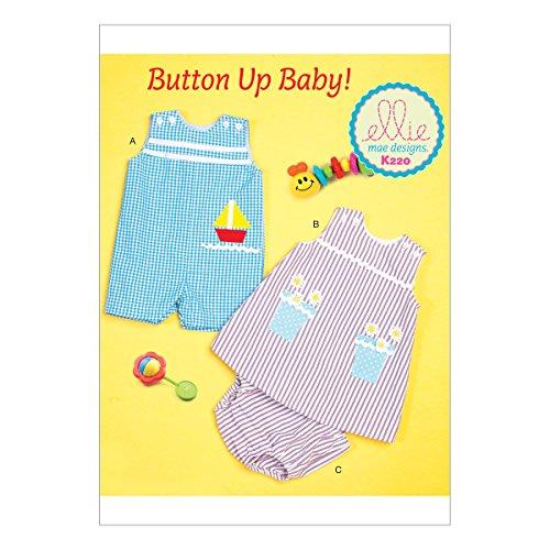 Kwik Sew Mustern k0220osz Baby Overalls/Kleid und Höschen Schnittmuster, Tissue, mehrfarbig, klein–2x Große
