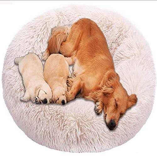 SKLLA Comfort Donut Dog Bed Wicker Jumbo Cushion Orthopedic Calming Sofa Extra Large XXL Anti Anxiety Cave xl Labrador Plush Medium Mattress xxxl Washable Cuddler brown ZZAY