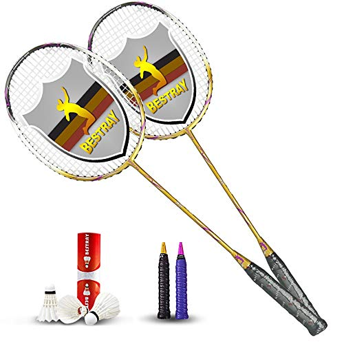 Rebily Badmintonschläger Doppel Racket Full Carbon Ultra Light Durable Carbon-Faser-Resistant Schüler Erwachsener Berufs Authentic Anzug (Color : Colorful Gold)
