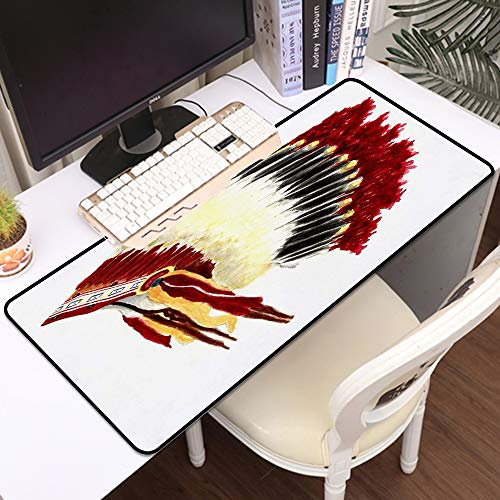 Large Waterproof Gaming Mouse Mat for Mouse,Native American Original Ethnic Symbolic Mystic Eagle Feather Headdress Indian Life Style,Stitched Edges Gaming Mouse Pad Mat Smooth Comfortable