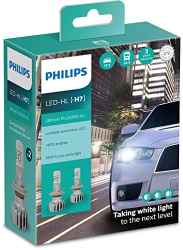 Philips Ultinon Pro5000 LED faros delanteros (H7), paquete doble