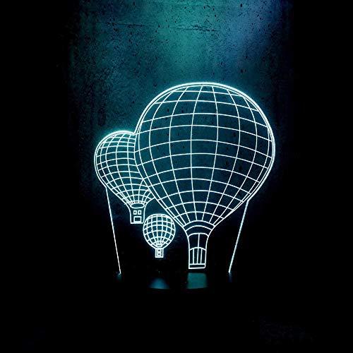 3D LED Luz de noche,3D illusion lamp, Lámpara de ilusión 16 colores Lámpara de decoración Cambio 3D Ilusión óptica Lámpara, Globo aerostático