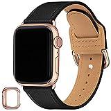 SUNFWR Armband Kompatibel mit Apple Watch 38mm 40mm 42mm 44mm,Dünn & leicht Lederband Ersatzband,Mehrere Farbbänder für die iwatch Serie 6/5/4/3/2/1,SE(38mm 40mm,Schwarz/Roségold)