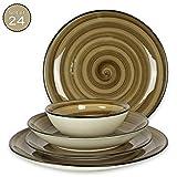 Teller-Set 24-teilig aus Porzellan fr 6 Personen - Tiefe Suppenteller, Flache Essteller, Dessertteller und Schsseln/Bowls -handbemalt- Hochwertiges modernes Vintage Tafelservice Handmade braun
