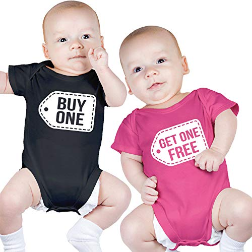 Twin Boy and Girl Bodysuits, Includes 2 Bodysuits, 0-3 Month Buy One Get One