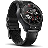Ticwatch Pro Smartwatch with Heart Rate Sensor, Android Wear, GPS, Wear OS by Google, NFC, Sports Watch Compatible with Android and IOS, Multilayer Display and Leather Strap, Black