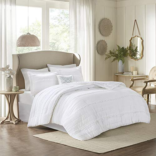"Madison Park Comforter Set-Textured Luxury Design All Season Down Alternative Bedding, Matching Sham, Decorative Pillows, King(104""x92""), Celeste, Ruffle White, 5 Piece"
