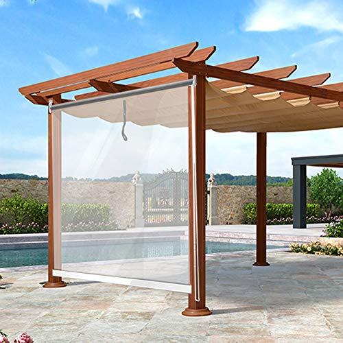 JLXJ Persianas Enrollables Al Aire Libre Pérgola Ventanas Cortinas Enrollables, El Plastico Transparente Persianas de PVC con Guarnición, 80cm/90cm/100cm/110cm/120cm/130cm/140cm de Ancho