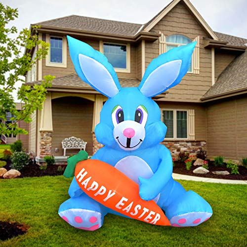 SEASONBLOW 4 FT LED Light Up Inflatable Easter Cute Bunny Rabbit with Carrot Decoration for Party Yard Lawn Garden Blow...
