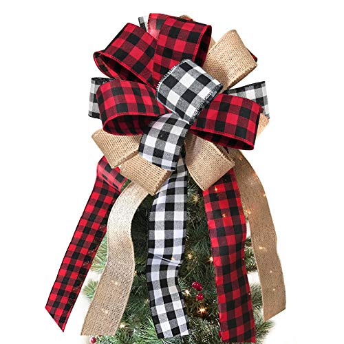 ORIENTAL CHERRY Christmas Tree Topper - Buffalo Plaid Red Black Burlap Decorative Bow - Rustic Farmhouse Xmas Decorations Home Decor - Handmade