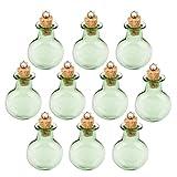 BESTOMZ Mini Glasfläschchen mit Korkverschluss/kleine Glasflaschen/Mini Flasche/Mini Fläschchen mit Korken 10 STK (Green)