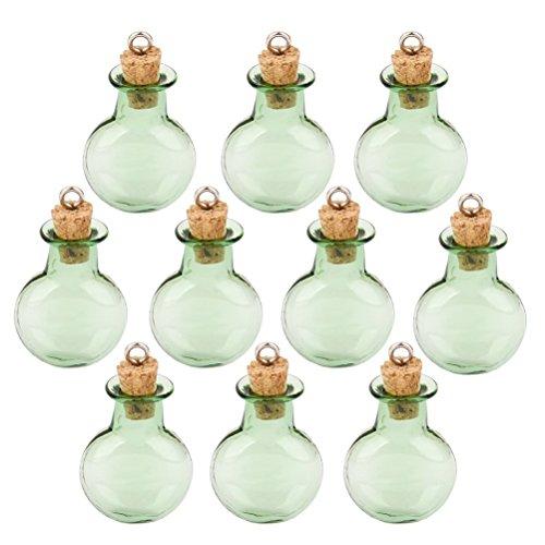 OULII 10pcs Mini verre vert minuscules Cork bouteilles flacon plat rond souhaitant bouteille bricolage pendentifs pour bricolage, favorise les Arts métiers, projets, décoration, parti (vert)