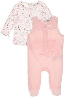 94a484191c966 Minnie Coffret Salopette Velours et T-Shirt bébé Fille Blanc et Rose de 0 à