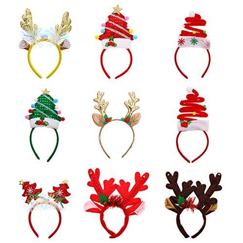 Lurrose 9Pcs LED Diadema Navideña Iluminada con Lentejuelas Cuernos de Reno Árbol de Navidad Aro para El Cabello Sombreros Navideños Cosplay Accesorios para El Cabello Regalo para