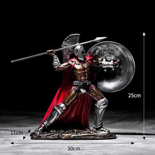 AMITD beeld sculptuur antieke Romeins ornament sculptuur Spartaans figuur standbeeld hars model Hero Home Spartaanse figuren krijgbaar figuur decoreren handwerk, 11