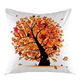 oFloral Autumn Tree Decorative Throw Pillow Cover Fall Maple Pillow Case Square Cushion Cover for Sofa Couch Home Car Bedroom Living Room Decor 18' x 18' Brown Orange