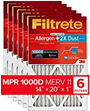 Filtrete 14x20x1, AC Furnace Air Filter, MPR 1000D, Micro Allergen PLUS DUST, 6-Pack (exact dimensions 13.81 x 19.81 x 0.81)