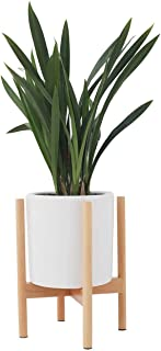 Plant Stand, Adjustable Mid Century Wood Modern Flower Potted Holder Rack for Indoor Outdoor, Fit 8'' to 12'' Planter(Plant and Pot Not Included)