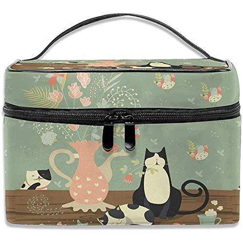 Reizen cosmetische tas kat bloem vaas make-up tas tas tas tas tas tas organizer opslag voor vrouwen meisjes