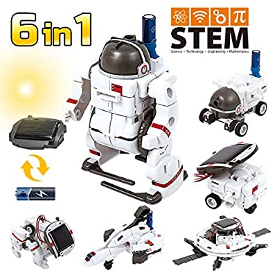 GILOBABY Solar Robot Kit, 6 in 1 STEM Learning Educational Toys Space Moon Exploration Fleet Building Experiment Toys, DIY Science Kit for Boys Girls Age 8+
