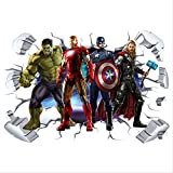 The Avengers Super Heroes 3d Pegatinas De Pared Rotas Hulk Iron Man Póster Mural Niños Decoración De La Habitación Vinilo Anime Papel Pintado 90 * 60 Cm