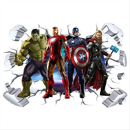 The Avengers Super Heroes 3d Pegatinas De Pared Rotas Hulk Iron Man Póster Mural Niños Decoración De La Habitación Vinilo Anime Papel Pintado 90 * 60