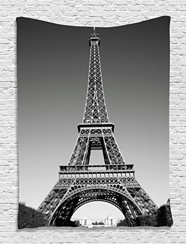 Ambesonne Eiffel Tower Tapestry, Paris Landmark Monochrome Picture of Cityscape European Urban Famous Place Image, Wall Hanging for Bedroom Living Room Dorm Decor, 40