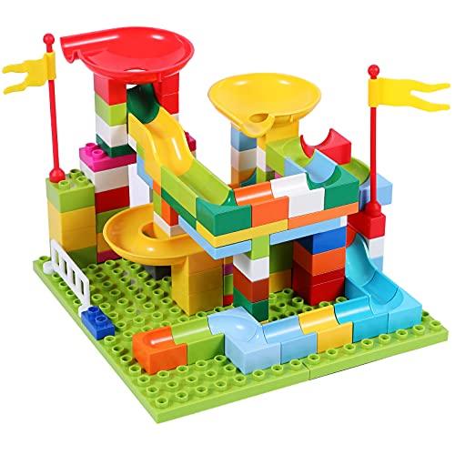 LITTLE STEP 96ピース コースター積み木ブロック スロープトイ 知育玩具 DIYルーピングコースター ビーズコースター 転がすおもちゃ ブロックおもちゃボールコースター ルーピングセット ビー玉転がし 子供へのプレゼント