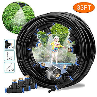 HONYOU Misting Cooling System, DIY Outdoor Mist Irrigation Cooling System Leak Proof Cooling System for Patio Garden Lawn Greenhouse