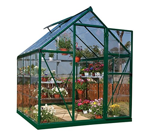 Palram Harmony Greenhouse - Clear Polycarbonate, Aluminium Frame, Base Included – Silver/Green (6x6, Green)