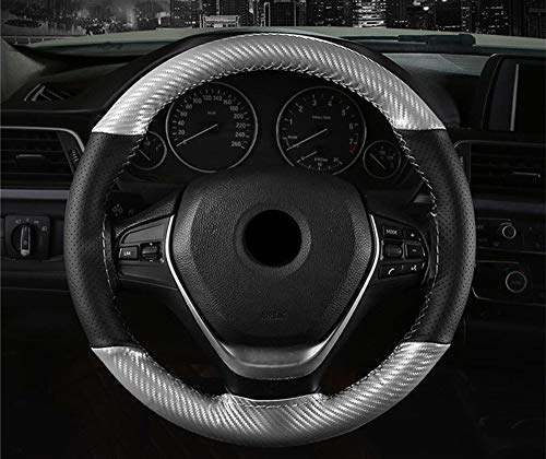 Steering Wheel Cover Soft Anti Slip Micro Fiber Leren stuur Fashion DIY Carbon Fiber Car Parts (Color : Silver, Size : Free)