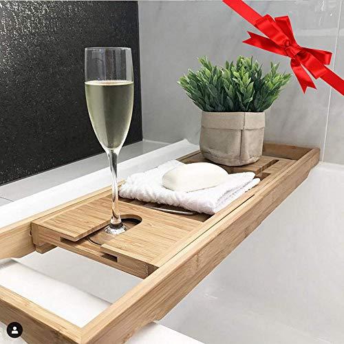 Bathtub Caddy Tray Bath Tub Rack Wine Glass Phone Tablet Soap Holder Extendable