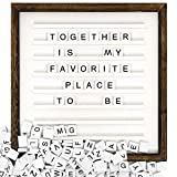 Mkono Letter Board with Letters and Numbers Wood Sign Board 12 x 12 Inches Changeable Scrabble Tile Letters with Rustic Wooden Frame Home Wall Tabletop Display Decor Announcement Message Board, White