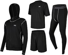 Trainingskleidung für Herren Kurzarm T-Shirt Shorts Männer 3 Stücke Athletic Compression Sport Laufsets Mit Outwear Kompression Enge Hosen für Radfahren Laufen Gym Fitness (Color : Black, Size : M)