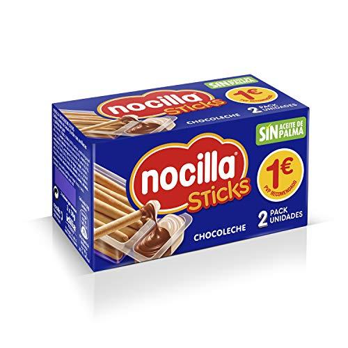 Sticks de Nocilla 41067 Chocoleche - 2 Raciones de 30 g - sin Aceite de Palma: Crema de Cacao Natural y Leche con Avellanas y Palitos de Pan