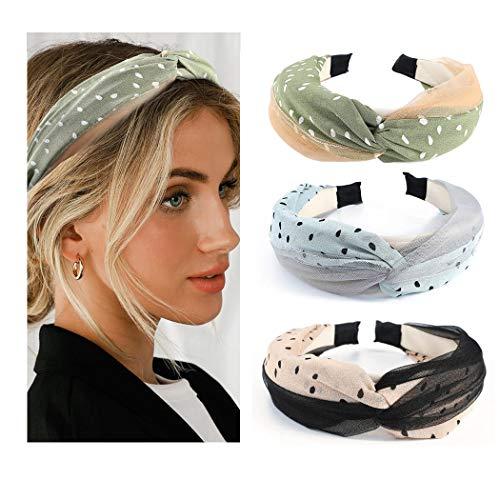 Yean Boho-Stirnbänder, gekreuzt, mit Punkten, modisch, gedrehtes Haarband für Frauen und Mädchen, 3 Stück