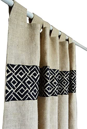 In stock Amore Beaute Handcrafted Burlap Curtain Chippendal in Sale special price Ivory with
