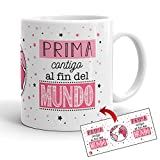 Kembilove Tazas de Café para Familiares – Taza con Mensaje Prima contigo al Fin del Mundo – Exclusiv...