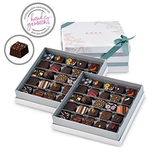 Pott au Chocolat Gourmet-Reise - Geschenk-Box mit 50 Pralinen, handgemacht aus hochwertigem Edel-Kakao und frischen Zutaten - perfekt für jeden Anlass, als Dankeschön, liebe Gäste, die beste Freundin