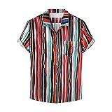 Men Summer Cool Shirt Top Cotton Linen Short-Sleeved Button Printed Blouse