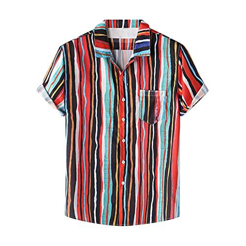 Camisa de verano para hombre, de manga corta, con botones, bolsillo frontal, estampado hawaiano, para el tiempo libre C_multicolor. L