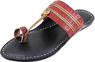KALAPURI� Ladies Kolhapuri Chappal in Ultra Soft Genuine Leather with Black Pointed Shape Base and Traditional Tiny Veni R...