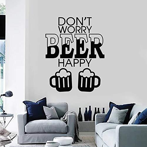 Zitat Wandtattoo Keine Sorge um Bier glücklich Alkohol Vinyl Fenster Aufkleber Bar Nachtclub Party Innendekoration Schriftzug Wandbild 42x53 cm