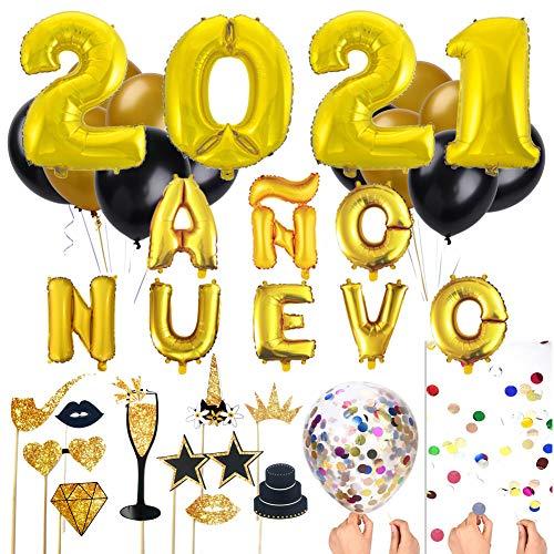 Decoración Nochevieja 2021 Gigante XXL# Kit de Globos Fin de Año # Globos Año Nuevo 2021, Globos de Látex Negro y Oro,  Globo Transparente Grande con Confeti y Foto Prop
