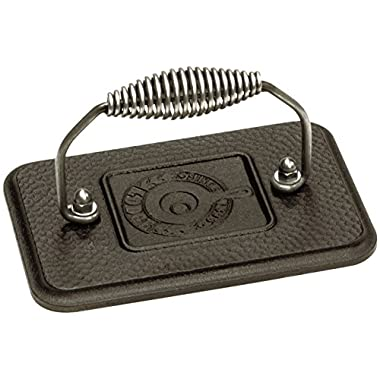 Lodge Rectangular Cast Iron Grill Press. 6.75 x 4.5  Cast Iron Grill Press with Cool-Grip Spiral Handle.