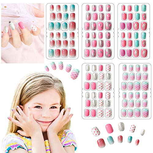 120 Pieces Press on Nails Short Acrylic Fake Nails Press on Pre-glue Nails Full Cover False Nails Press on Nails for Kids, 5 Boxes