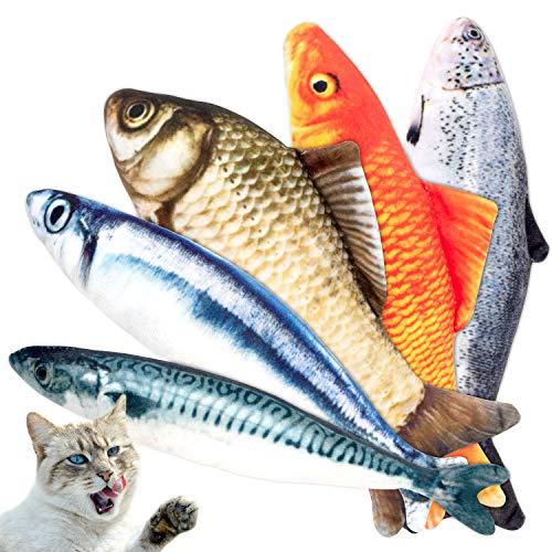 PIVEDOS Katzenspielzeug Fisch 5er Set Spielezeug für Katze Spielsachen...