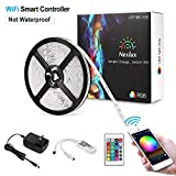 Nexlux Led Light Strip, WiFi Wireless Smart Phone Controlled 16.4ft Non-Waterproof Strip Light Kit White PCB 5050 LED Lights,Working with Android and iOS System,IFTTT